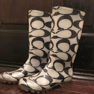 Black and White Coach Rain Boots